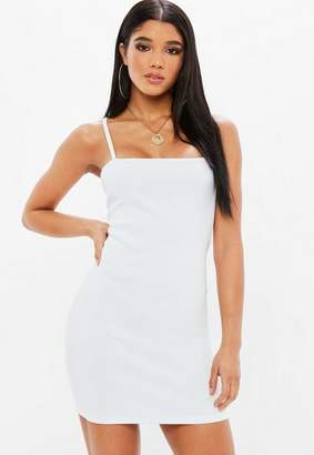 Missguided White Ribbed Square Neck Strappy Bodycon Dress