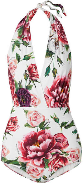 Floral-print Halterneck Swimsuit - White