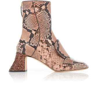 Rochas Glittered Python-Effect Leather Ankle Boots