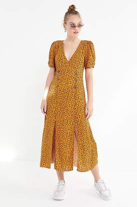 Urban Outfitters Printed Front-Slit Midi Dress