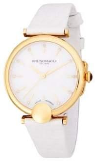 Bruno Magli Embellished Goldtone Leather-Strap Watch
