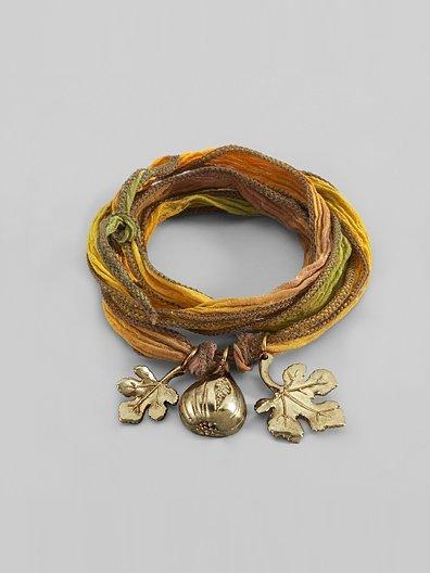 Catherine Michiels Bronze & Silk Fig & Leaf Charm Bracelet
