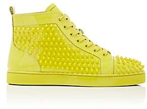 Christian Louboutin Men's Louis Flat Patent Leather Sneakers-Yellow