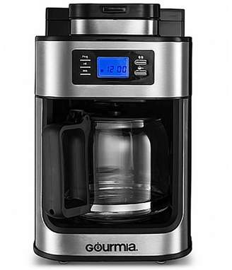 Gourmia Gourmet Stainless Steel Programmable Coffee Maker Machine with Grinder