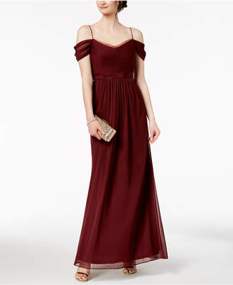 Adrianna Papell Pleated Chiffon Off-The-Shoulder Gown