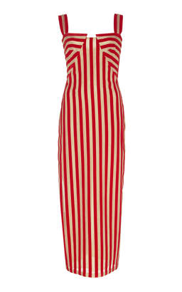 Dune Sandra Mansour Striped Velvet Midi Dress