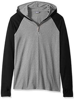 ROBUST Men's Grey Melange/Black Full Sleeve Raglan Hooded Zipper T-Shirt with Thumbhole (Size-)