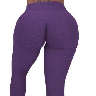 CROSS1946 Women's High Waist Booty Ruched Textured Legging Butt Lift Yoga Pants L