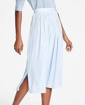Ann Taylor Shirred Midi Skirt