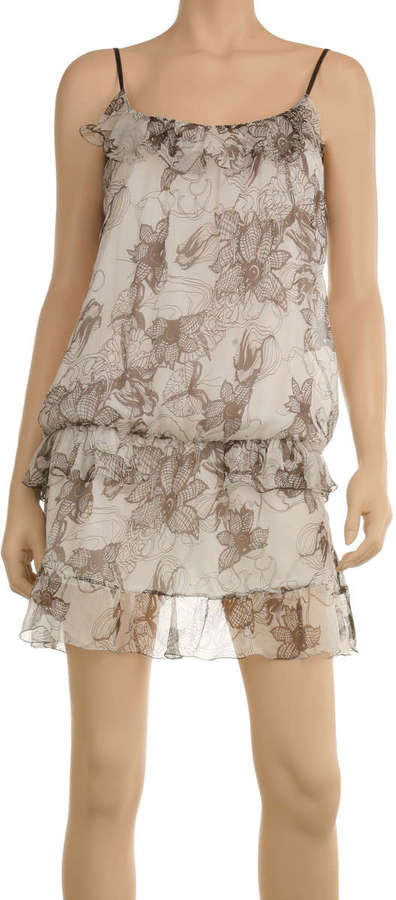 Printed Silk Georgette Blouson Dress