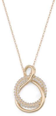 14k Gold Cz Interlocked Circle Necklace