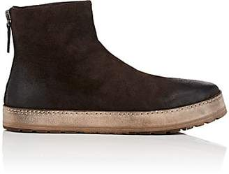 Marsèll WOMEN'S CONTRAST-SOLE DISTRESSED SUEDE ANKLE BOOTS - DK. BROWN SIZE 10