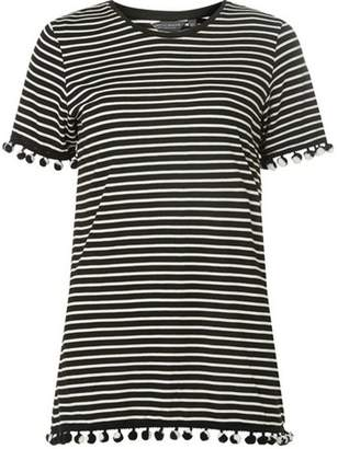 Dorothy Perkins Womens **Tall Monochrome Striped Pom Pom T-Shirt