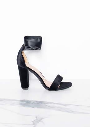 aeb2c420f9 Missy Empire Missyempire Vali Black Suede Block High Heels