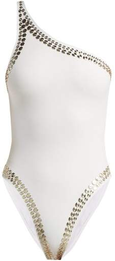 Mio Studded One Shoulder Swimsuit - Womens - White