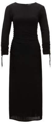 BOSS Hugo Long-length matte-jersey dress gathered sleeves S Black