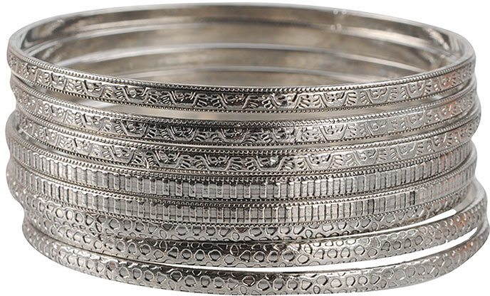 Mixed Textured Bangle Set