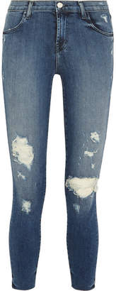 J Brand - Alana Cropped Distressed High-rise Skinny Jeans - Dark denim $250 thestylecure.com