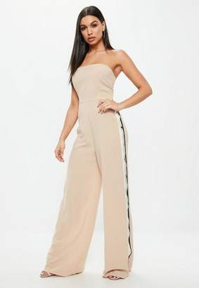 Missguided Nude Bandeau Popper Side Jumpsuit, Nude
