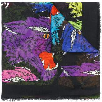 Gucci rainbow panther face jaquard scarf