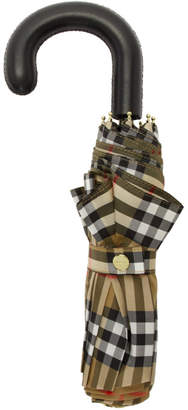 Burberry Beige and Black Check Collapsible Umbrella