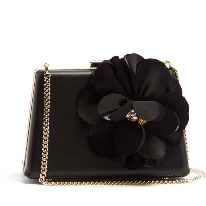 Lanvin LANVIN Le Petit Sac flower-appliqué leather box clutch