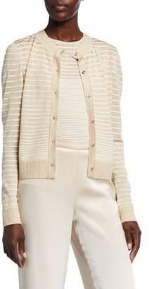 St. John Degrade Ottoman Shimmer Knit Button-Front Cardigan