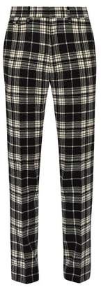 Burberry Tartan Check Wool Trousers - Mens - Black