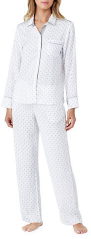 DKNY Dkny Patterned Button-Front Top and Pants Pajama Set