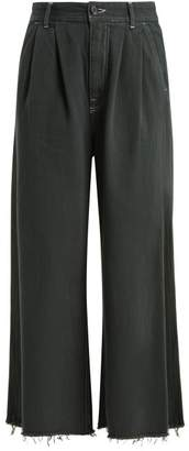 MM6 MAISON MARGIELA High Rise Wide Leg Jeans - Womens - Dark Green