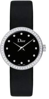 Christian Dior La D de Diamond, Stainless Steel& Satin Strap Watch