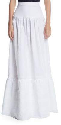 Calvin Klein High-Waist Cotton Maxi Prairie Skirt
