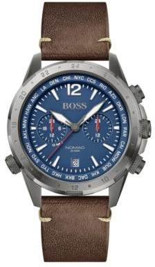 BOSS Dual-time chronograph watch with leather strap