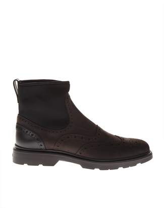 Hogan Chelsea Brown Leather Ankle Boots