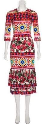 Dolce & Gabbana Mambo Print Midi Dress w/ Tags