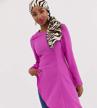Verona asymetric long sleeve top in lilac