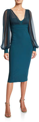 Chiara Boni V-Neck Sheer-Sleeve Empire-Waist Sheath Dress