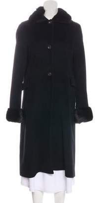 Agnona Mink-Trimmed Angora & Wool Coat