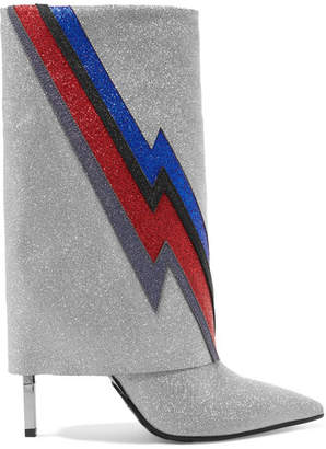 Balmain Babette Flash Glittered Leather Boots - Silver