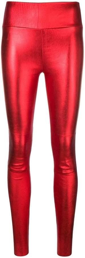 Sprwmn metallic leather trousers