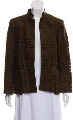 Akris Leather-Accented Textured Jacket