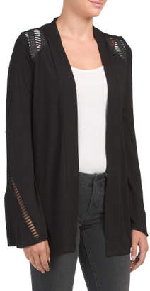Bell Sleeve Cardigan With Lace Detail
