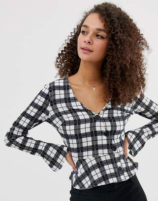 Miss Selfridge wrap blouse with button front in check