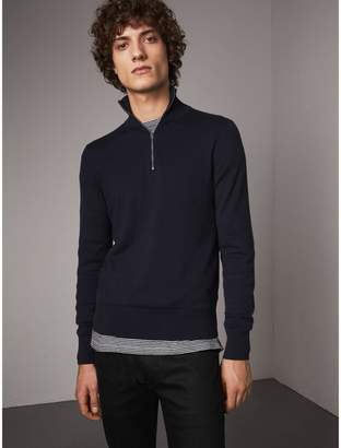 Burberry Zip-neck Cashmere Cotton Sweater