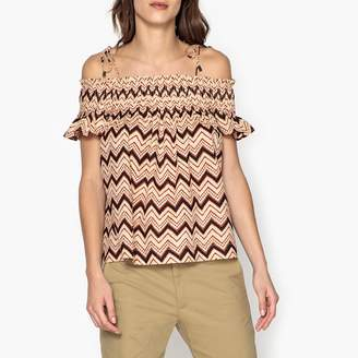 Stella Forest Printed Off-the-Shoulder Top