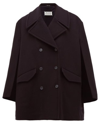 Maison Margiela Double Breasted Virgin Wool Blend Cape Pea Coat - Womens - Navy