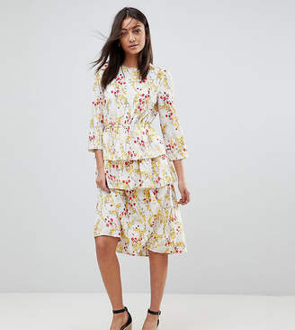 Vero Moda Tall Floral Midi Dress With Peplum Hem