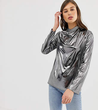 Reclaimed Vintage Inspired Drapey Top In Liquid Metallic