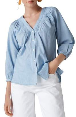 Whistles Striped Pintuck Shirt