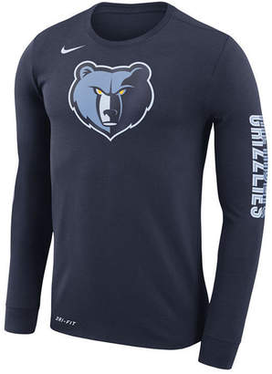 Nike Men's Memphis Grizzlies Dri-fit Cotton Logo Long Sleeve T-Shirt
